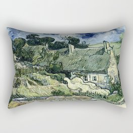 Thatched Cottages at Cordeville, Vincent van Gogh Rectangular Pillow