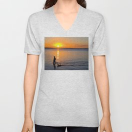 Wading in the Sunset Unisex V-Neck