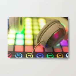 Headphones on a launchpad Metal Print