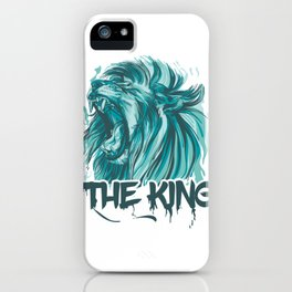 Blue Lion (The King Of Jungle) Vector Style iPhone Case