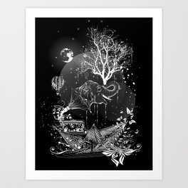 Surrealistic dream, paper boat, elephant, tree and gramophone Art Print
