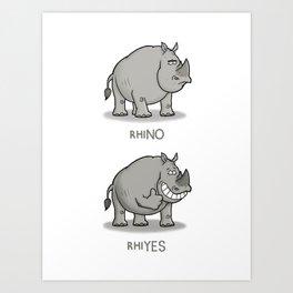Rhino Cartoon Pun Art Print