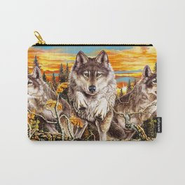 Pack of wolves running Carry-All Pouch
