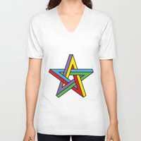 pentagram V-neck T-shirts featuring Impossible Pentagram by Stephen Kemmy Graphic Designer
