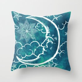 Moon vintage marine green Throw Pillow