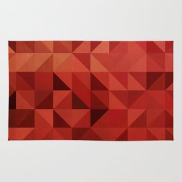 Red Triangles and Squares Rug