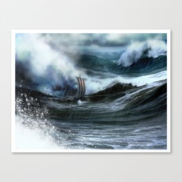 Lost at Sea, a Viking shipwreck in a storm Canvas Print