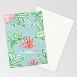 Tropical Flowers Soft Blue Background Stationery Cards