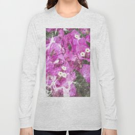 Pink flowers marble Long Sleeve T-shirt