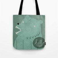 bear Tote Bags featuring Friendly Bear by Sarajea