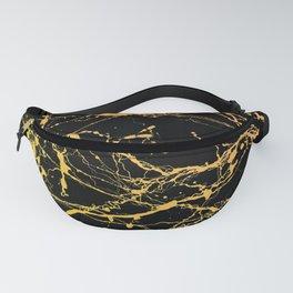 24-Karat Polished Gold Streaks on Black Marble Fanny Pack