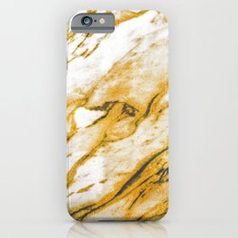 White Marble With Gold Dust Sparkle Veins iPhone Case