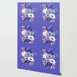 Anemones & Gardenia Blue bouquet Wallpaper