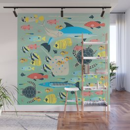 Underwater World with Coral Reef Animals Wall Mural