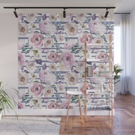 Violet blush pink lilac watercolor floral stripes Wall Mural