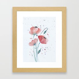 Red poppies in the sun floral watercolor painting Framed Art Print