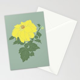 Yellow Dahlia Flower Illustrated Print Stationery Cards