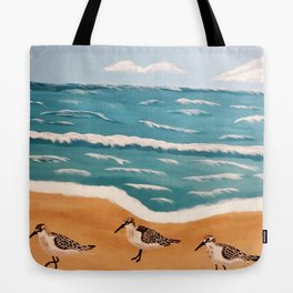 Sand Pipers on the Beach Tote Bag
