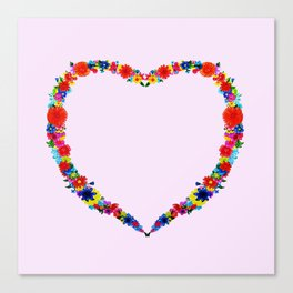 heart made of flowers on a pink background . Artwork Canvas Print