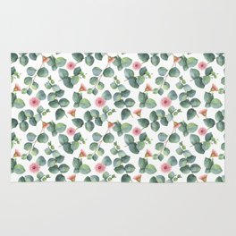 Gorgeous Eucalyptus Flowers Leaves Pattern Rug