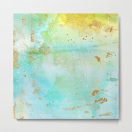 Aqua and Yellow Watercolor Wash With Faux Gold Glitter Metal Print