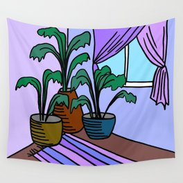 Three Potted Plants in the Corner - Lavender Blue Wall Tapestry