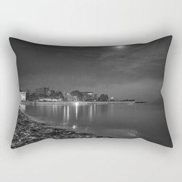 Foggy Moonlit Beach B&W Rectangular Pillow