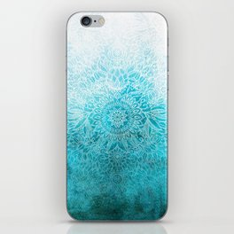 Fade to Teal - watercolor + doodle iPhone Skin