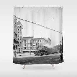 Empire State Express (New York Central Railroad) coming thru Washington Street, Syracuse, N.Y. Shower Curtain
