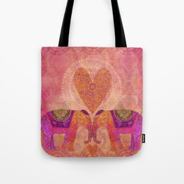 Elephants In Love With Heart Tote Bag