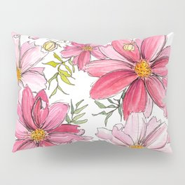 Pink Spring Flower Pattern Pillow Sham