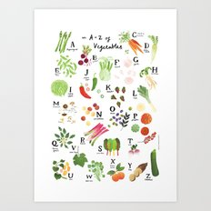 Illustrated Vegetable Alphabet Art Print