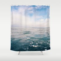 michigan Shower Curtains featuring Lake Michigan by Pan Kelvin