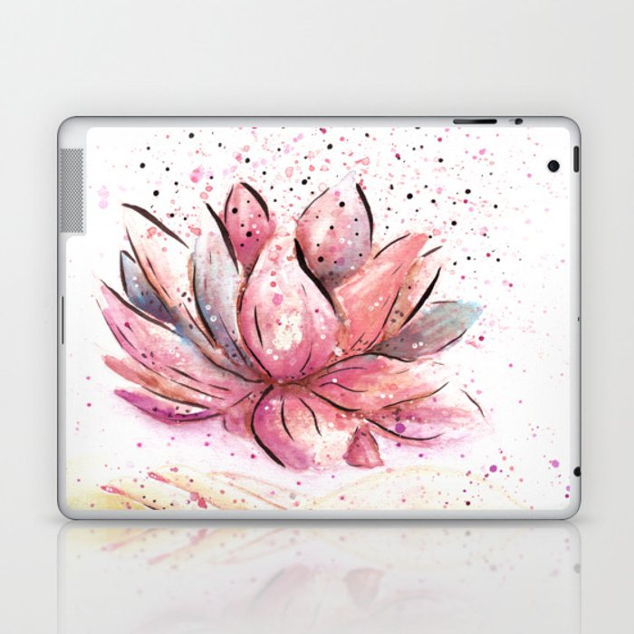 Lotus Flower Watercolor Art Laptop Ipad Skin By