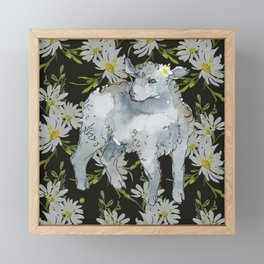 Cottagecore Lamb - Black Framed Mini Art Print