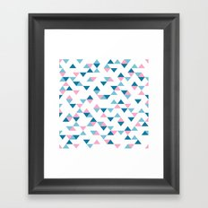 Triangles Blue and Pink Framed Art Print