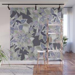 Mauve gray lavender silver watercolor floral Wall Mural