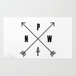 PNW Pacific Northwest Compass - Black and White Forest Rug