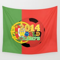 portugal Wall Tapestries featuring 2014 World Champs Ball - Portugal by crouchingpixel