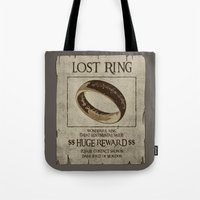 lord of the ring Tote Bags featuring Lost Ring by le.duc
