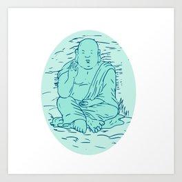 Gautama Buddha Lotus Pose Drawing Art Print