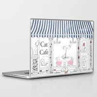 cafe Laptop & iPad Skins featuring Cat Cafe by ArtRonin