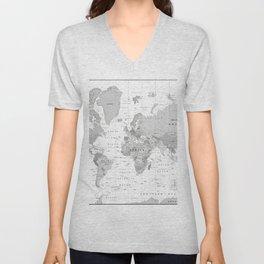 World Map [Black and White] Unisex V-Neck