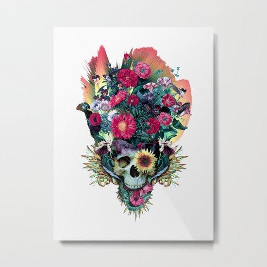 Floral Skull Vivid V Metal Print
