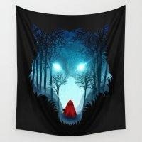 bad wolf Wall Tapestries featuring Big Bad Wolf (dark version) by DV designstudio