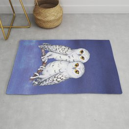 Two lovely snowy owls Rug