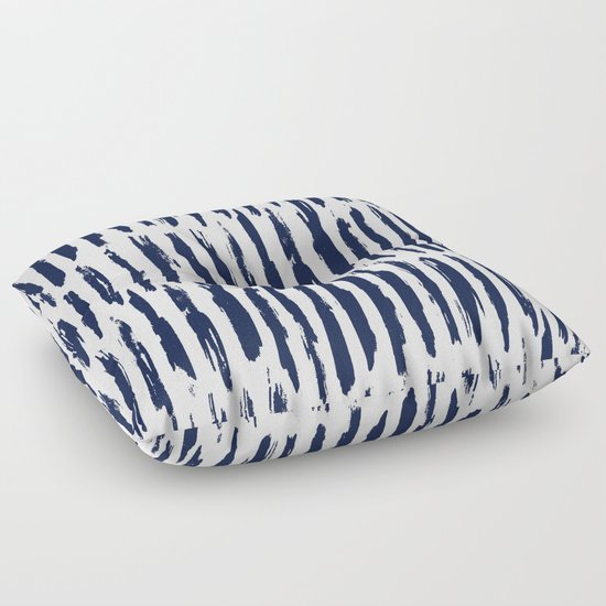 Vertical Dash Navy Blue and White Paint Stripes Floor Pillow by Simple Luxe Society6