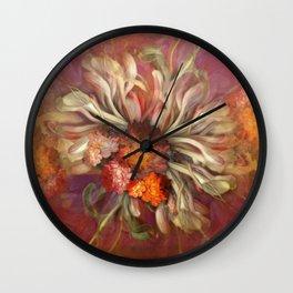 """""""Rose Gold Flower Bouquet"""" Wall Clock"""