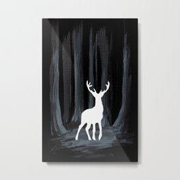 Glowing White Stag Metal Print