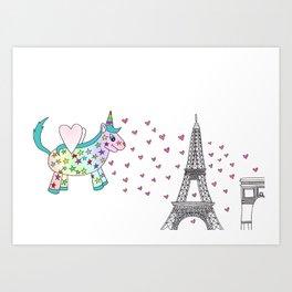 Rainbow the Unicorn in Paris Art Print